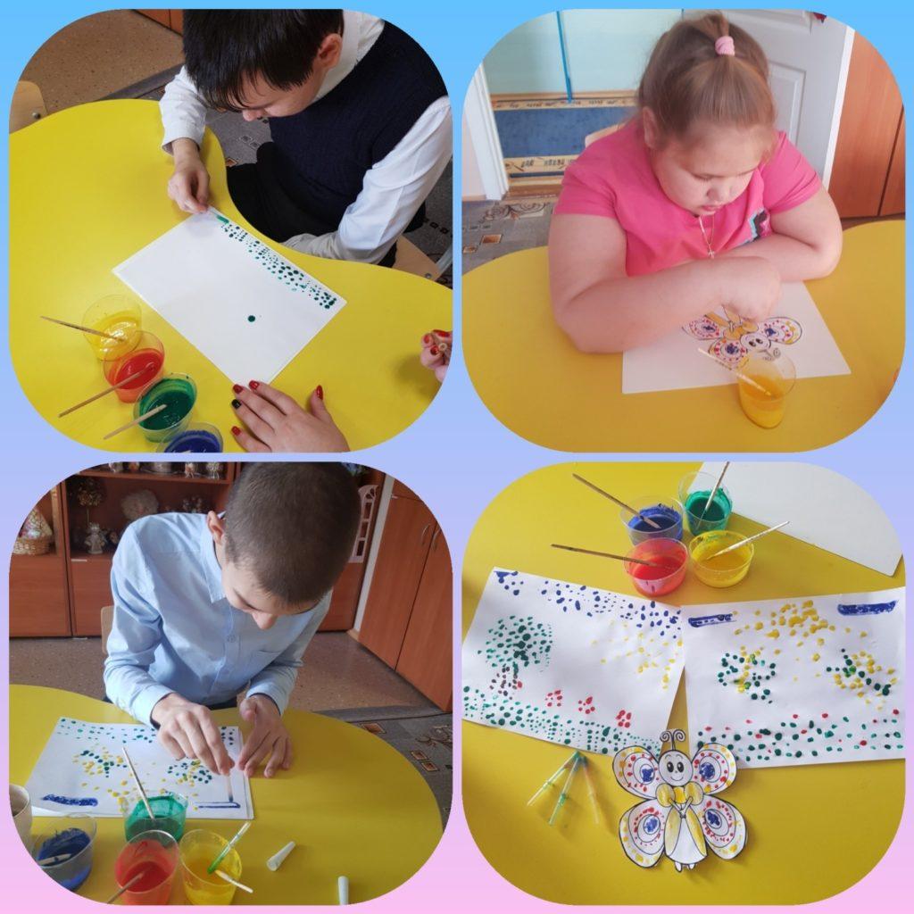 """На фотографиях дети, рисуют в технике """"Каплетерапия"""""""